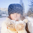 Happy woman with snow - Stock Photo