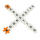 Agressive Marketing 3d puzzle on white background — Stock Photo