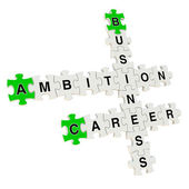 Rompecabezas 3d de negocios ambición sobre fondo blanco — Foto de Stock