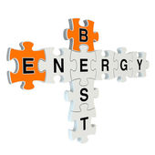 Best energy 3d puzzle on white background — Stock Photo