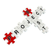 Best project 3d puzzle on white background — Stock Photo