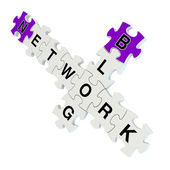 Network blog 3d puzzle on white background — Stock Photo
