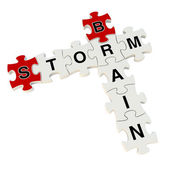 Brain storm 3d puzzle on white background — Foto de Stock