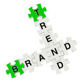 Brand trend 3d puzzle on white background — Stock Photo