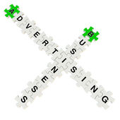 Business advertising 3d puzzle on white background — Stock Photo