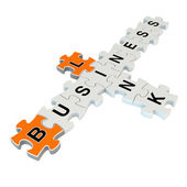 Business link 3d puzzle on white background — 图库照片