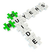 Buyers guide 3d puzzle on white background — 图库照片