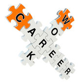 Work career 3d puzzle on white background — Stock fotografie