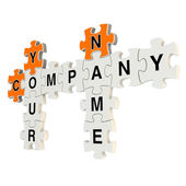 Company name 3d puzzle on white background — Foto Stock