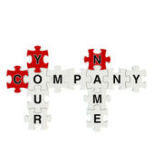 Company name 3d puzzle on white background — 图库照片