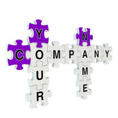 Company name 3d puzzle on white background — Zdjęcie stockowe