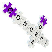 Concept idea 3d puzzle on white background — Stock Photo