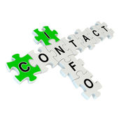 Contact info 3d puzzle on white background — Stock Photo