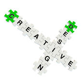 Creative design 3d puzzle on white background — Stock Photo