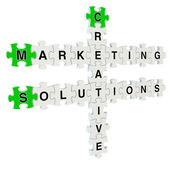 Marketing solutions 3d puzzle on white background — Stok fotoğraf