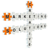 Marketing solutions 3d puzzle on white background — Zdjęcie stockowe