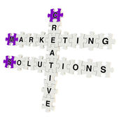 Marketing solutions 3d puzzle on white background — Stock Photo