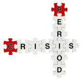 Crisis period 3d puzzle on white background — 图库照片