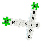 Crisis period 3d puzzle on white background — Stock fotografie