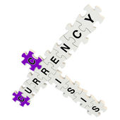 Crisis currency 3d puzzle on white background — Stock Photo