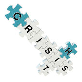 Crisis hit 3d puzzle on white background — Stock Photo
