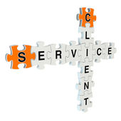 Client service 3d puzzle on white background — Stok fotoğraf