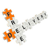 Free delivery 3d puzzle on white background — Stok fotoğraf