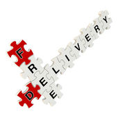 Free delivery 3d puzzle on white background — Stock fotografie