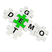 Get demo 3d puzzle on white background — Stock Photo