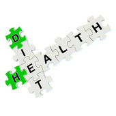Diet health 3d puzzle on white background — Stock Photo