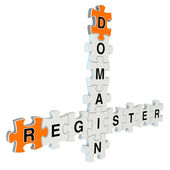 Domain register 3d puzzle on white background — Stock Photo