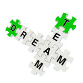 Dream team 3d puzzle on white background — Stock Photo