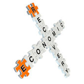 Economic recovery 3d puzzle on white background — Stock Photo