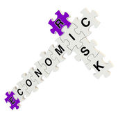 Economic risk 3d puzzle on white background — Stock Photo