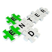 End enter 3d puzzle on white background — Foto de Stock