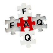 Faq 3d puzzle on white background — Stock Photo