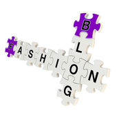 Fashion blog 3d puzzle on white background — Stock Photo