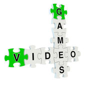 Video games 3d puzzle on white background — Stock Photo