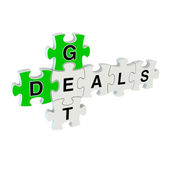 Get deals 3d puzzle on white background — Stock Photo