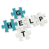 Get help 3d puzzle on white background — Stock Photo