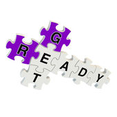 Get ready 3d puzzle on white background — Stock Photo