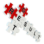 Get result 3d puzzle on white background — Stock Photo