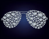 Illustrazione di occhiali ha fatto un sacco di diamanti su sfondo nero — Vettoriale Stock