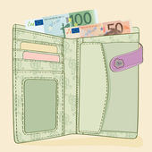Wallet with 50 and 100 Euro bills — Stock Vector