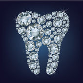 Tooth made up a lot of diamond — Vettoriale Stock