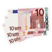 Vector drawing of a 3x 10 Euro bills (isolated) — Vettoriale Stock