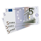Vector drawing of a 3x 5 Euro bills (isolated) — Stock Vector