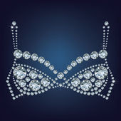 Shiny bra made up a lot of diamonds — Stock Vector