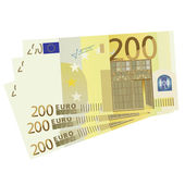 Vector drawing of a 3x 200 Euro bills — Stock Vector