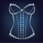 Lady's sexy corset made from diamonds. — Stock Vector